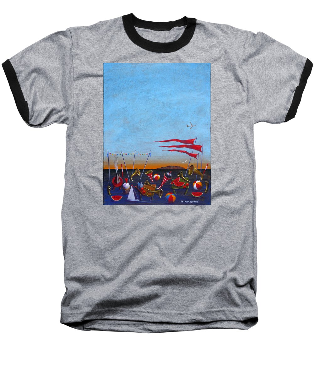 Piano Baseball T-Shirt featuring the painting Trumpets Of The Mediterranean by Dimitris Milionis