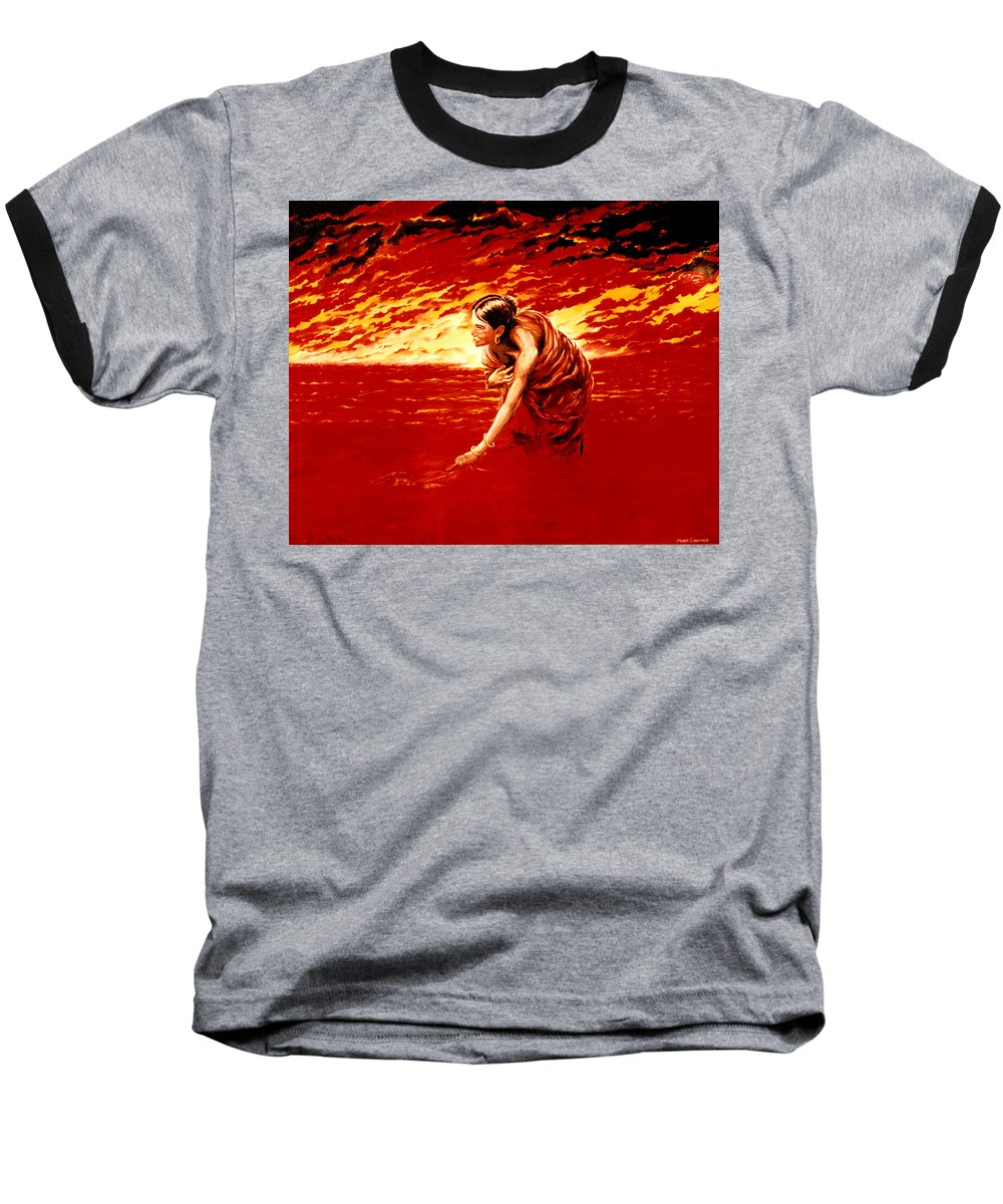 Seascape Baseball T-Shirt featuring the painting Tsunami by Mark Cawood