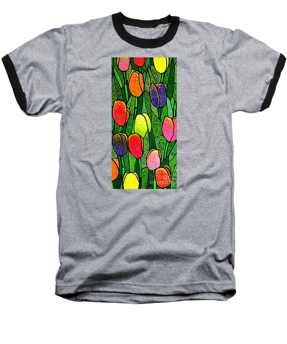 Tulips Baseball T-Shirt featuring the painting Tulip Glory by Jim Harris