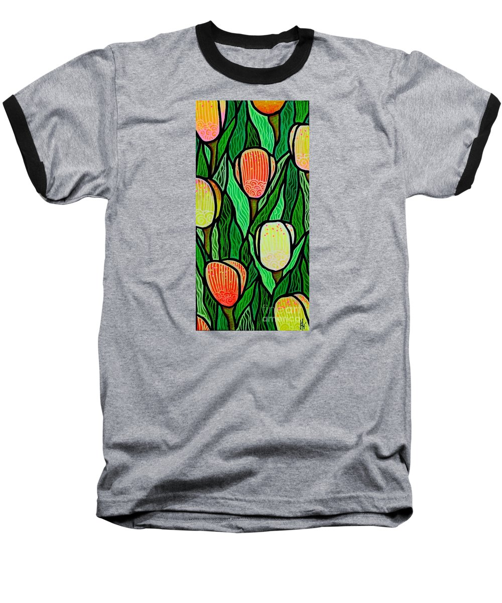 Tulips Baseball T-Shirt featuring the painting Tulip Joy 2 by Jim Harris