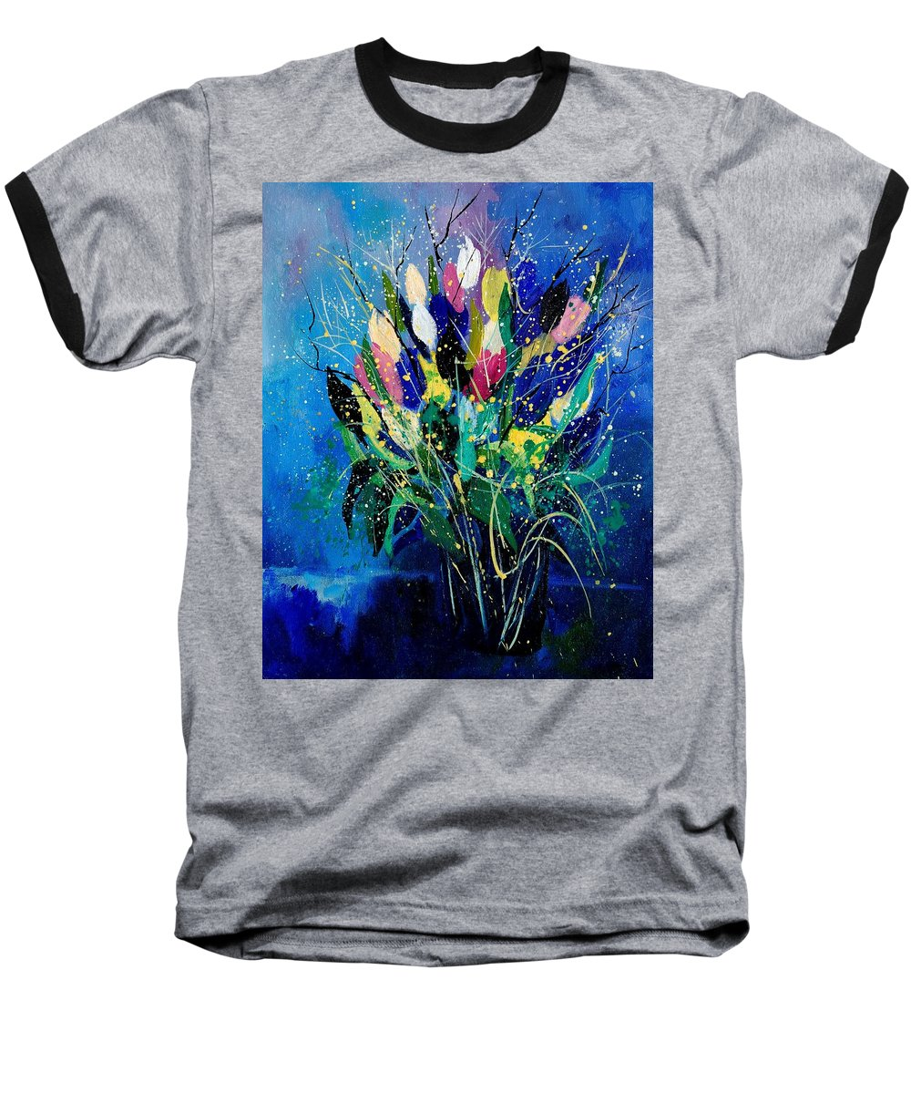 Flowers Baseball T-Shirt featuring the painting Tulips 45 by Pol Ledent