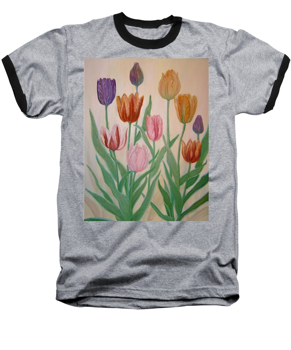 Flowers Of Spring Baseball T-Shirt featuring the painting Tulips by Ben Kiger