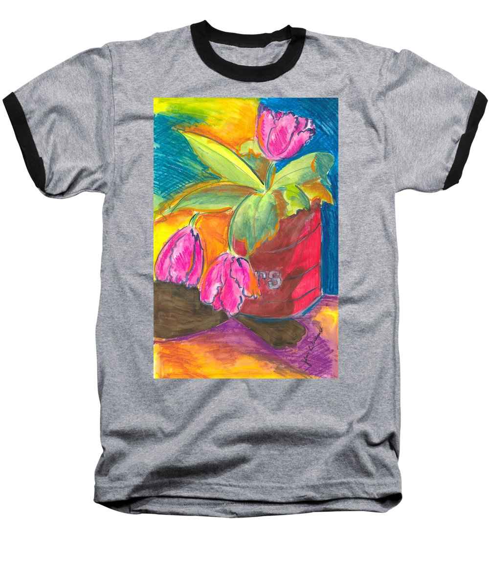 Flowers Baseball T-Shirt featuring the painting Tulips In Can by Jean Blackmer