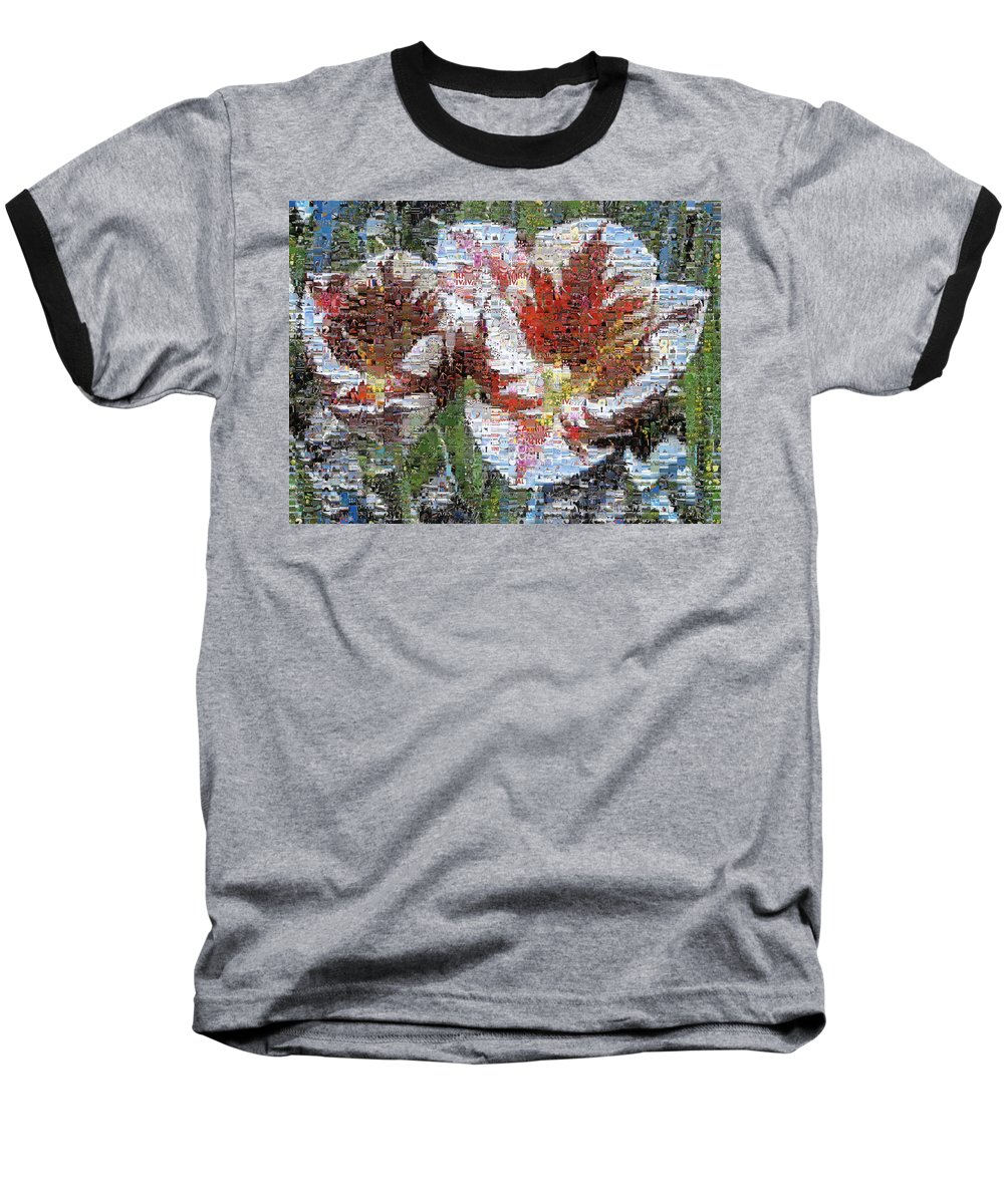 Lighthouse Baseball T-Shirt featuring the photograph Tulips In Springtime Photomosaic by Michelle Calkins