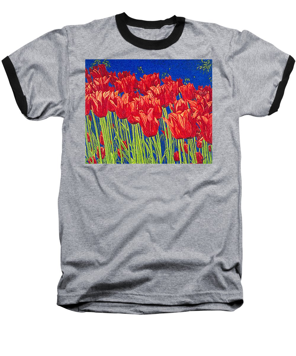 Tulips Baseball T-Shirt featuring the drawing Tulips Tulip Flowers Fine Art Print Giclee High Quality Exceptional Color Garden Nature Botanical by Baslee Troutman