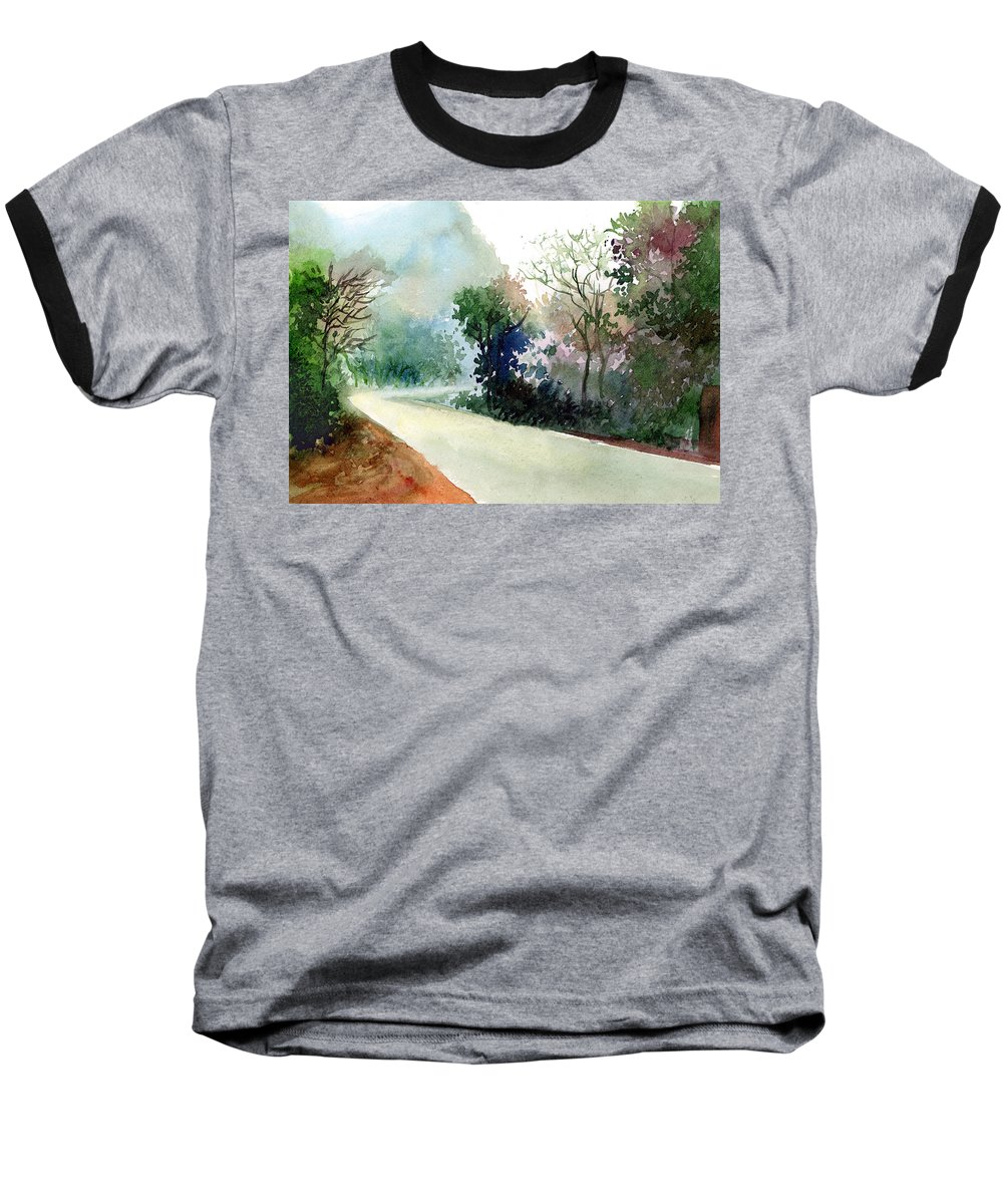 Landscape Water Color Nature Greenery Light Pathway Baseball T-Shirt featuring the painting Turn Right by Anil Nene