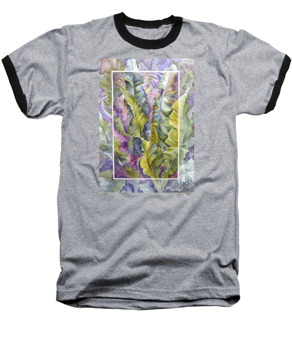 Ferns;floral; Baseball T-Shirt featuring the painting Turns Of Ferns by Lois Mountz