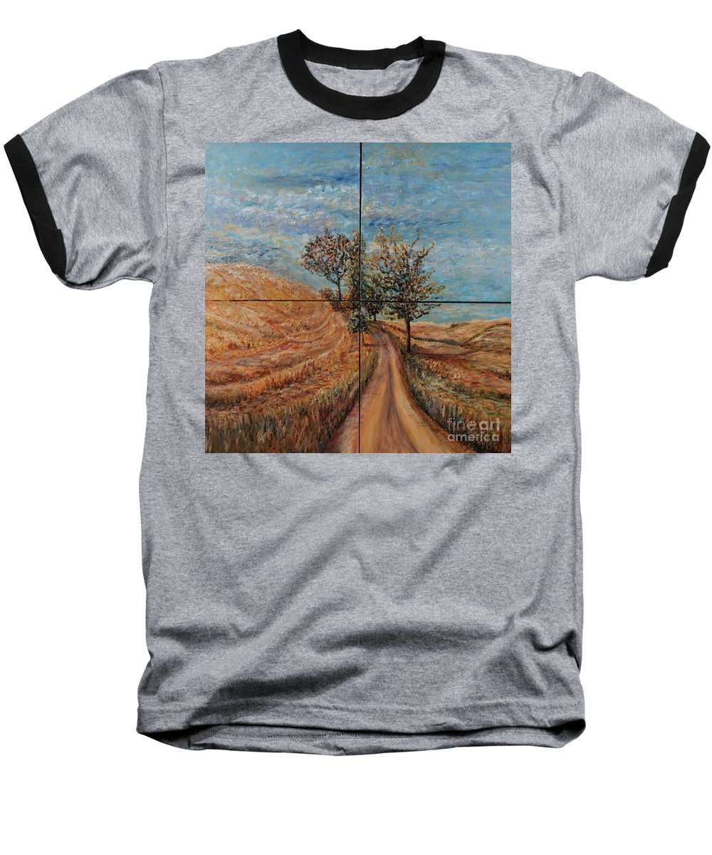 Landscape Baseball T-Shirt featuring the painting Tuscan Journey by Nadine Rippelmeyer