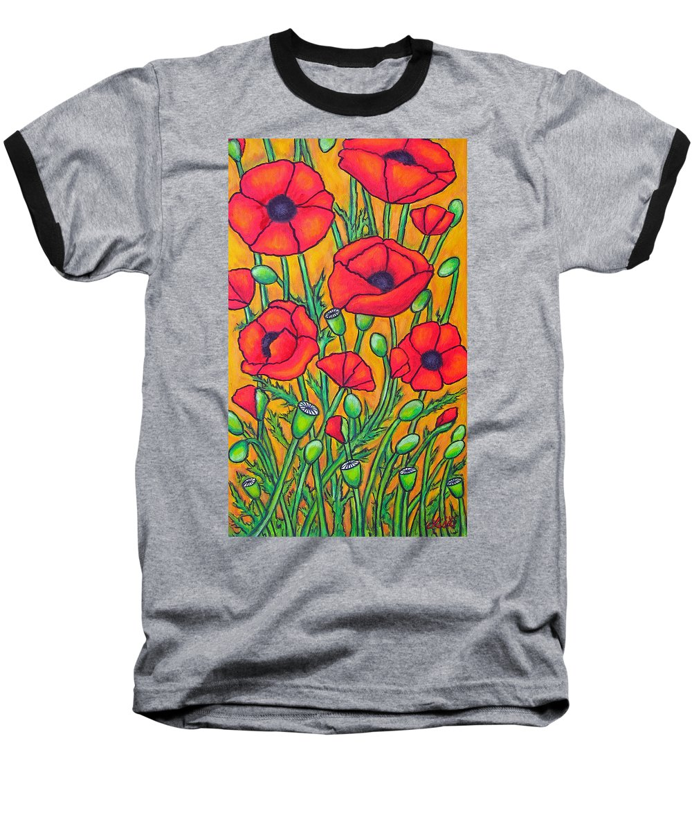 Poppies Baseball T-Shirt featuring the painting Tuscan Poppies - Crop 2 by Lisa Lorenz
