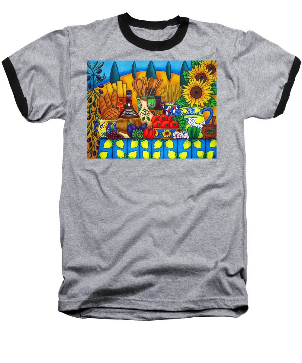 Still Life Baseball T-Shirt featuring the painting Tuscany Delights by Lisa Lorenz