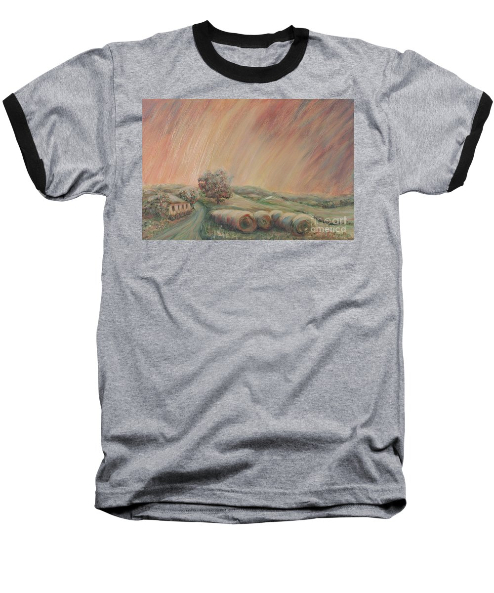 Landscape Baseball T-Shirt featuring the painting Tuscany Hayfields by Nadine Rippelmeyer