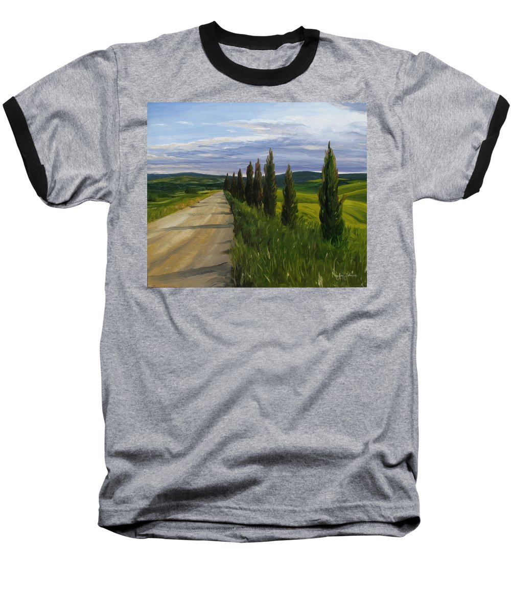 Baseball T-Shirt featuring the painting Tuscany Road by Jay Johnson