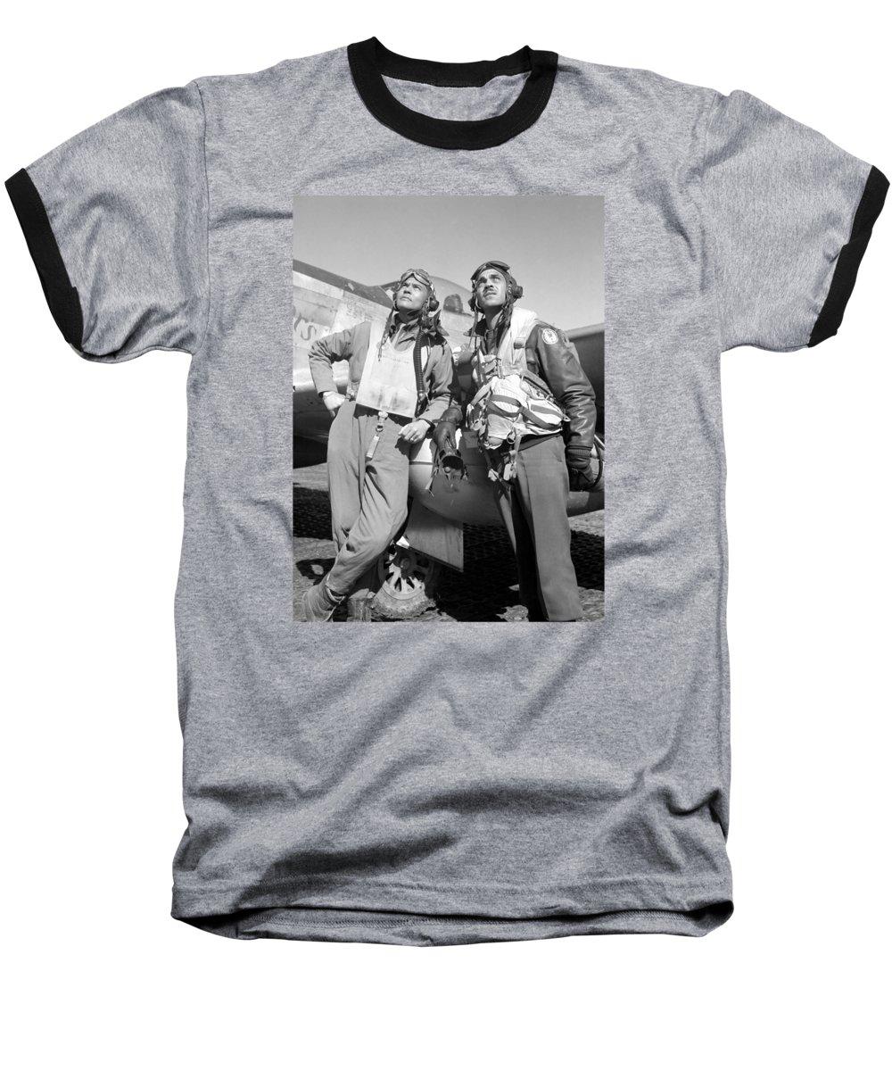 Benjamin Davis Baseball T-Shirt featuring the photograph Tuskegee Airmen by War Is Hell Store