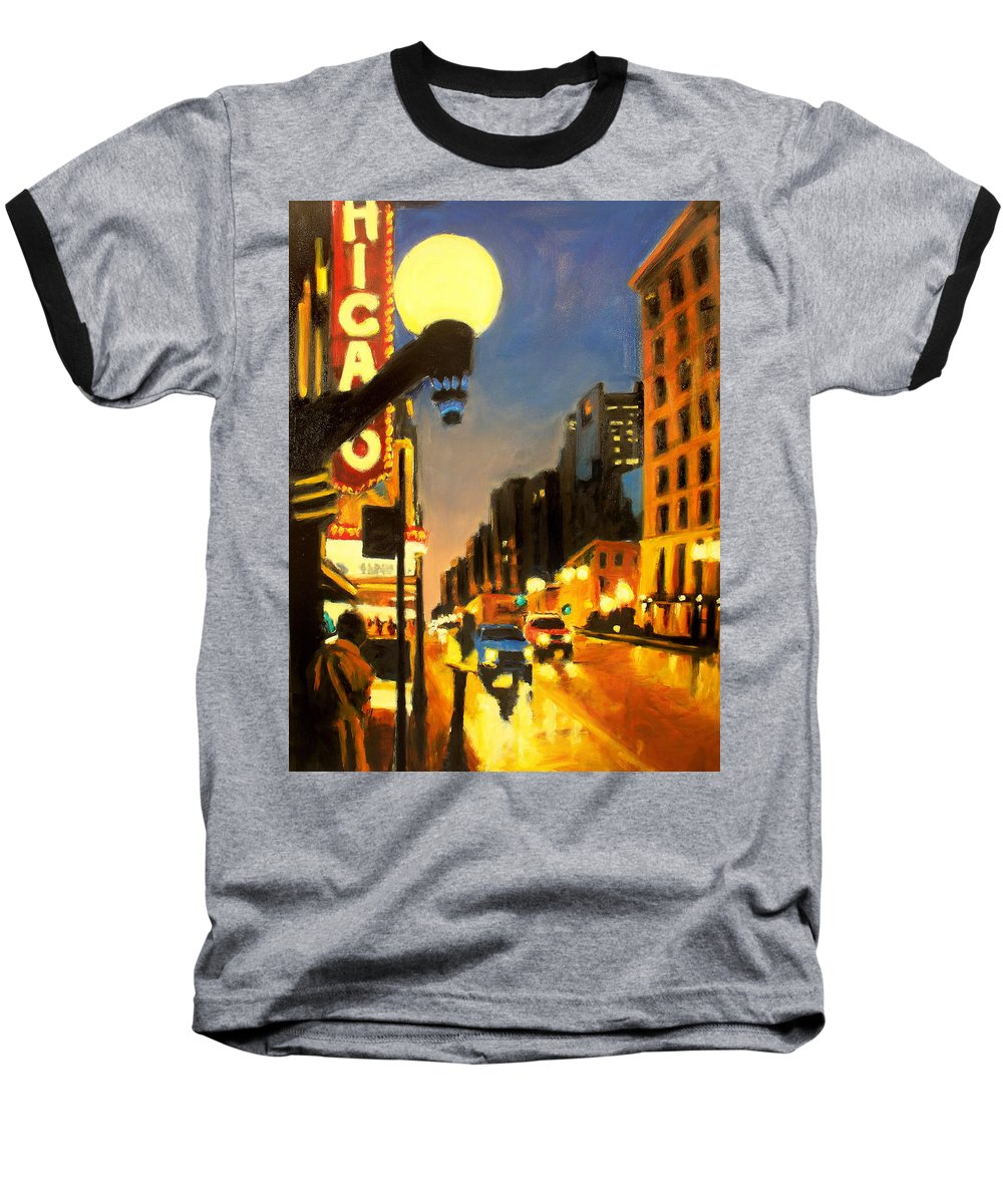 Rob Reeves Baseball T-Shirt featuring the painting Twilight In Chicago - The Watcher by Robert Reeves