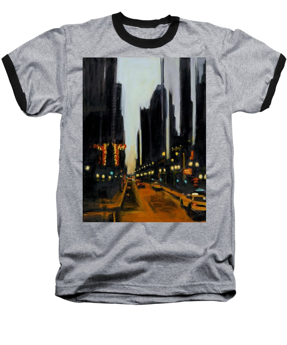 Rob Reeves Baseball T-Shirt featuring the painting Twilight In Chicago by Robert Reeves