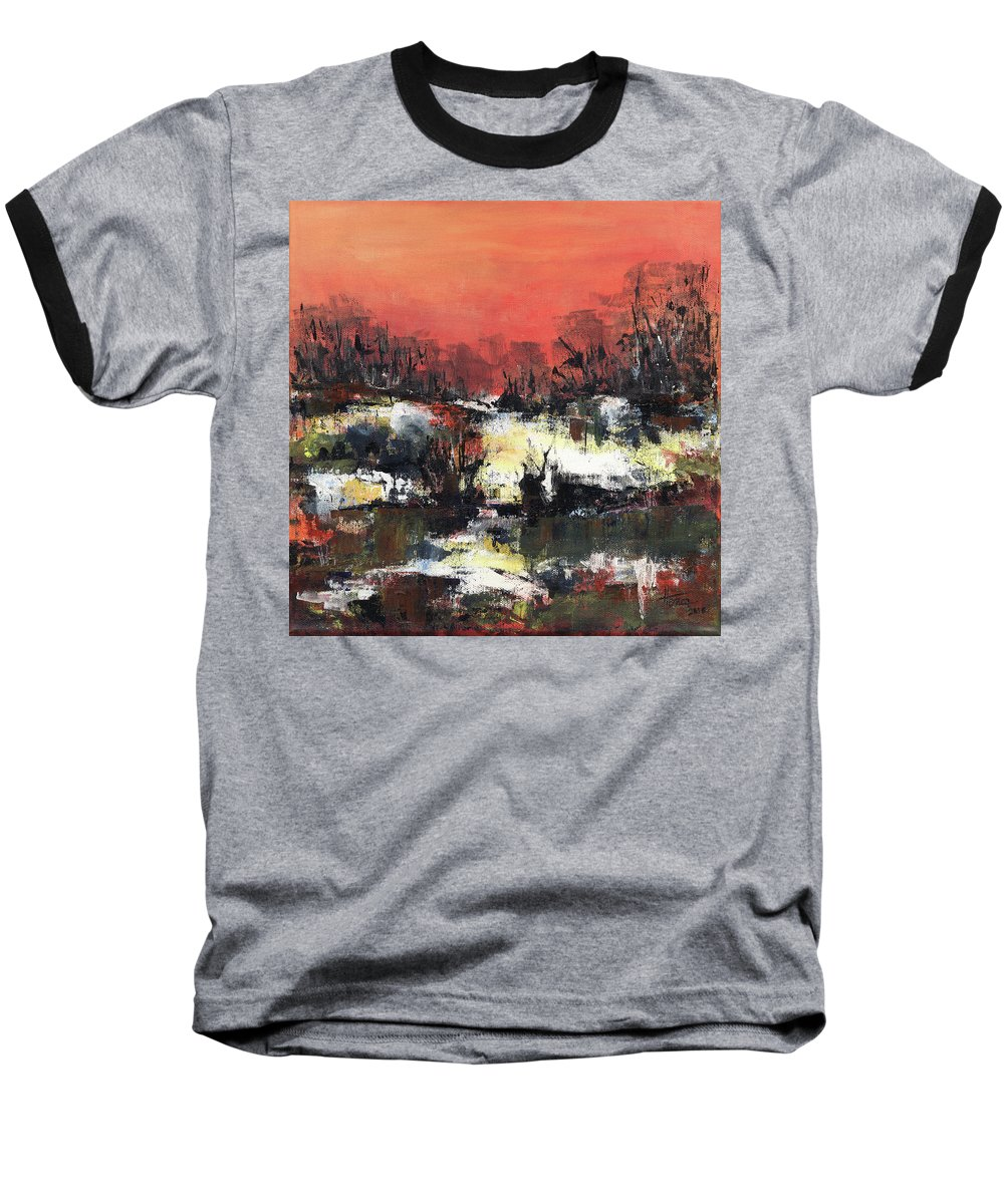 Abstract Baseball T-Shirt featuring the painting Twilight Madness by Aniko Hencz