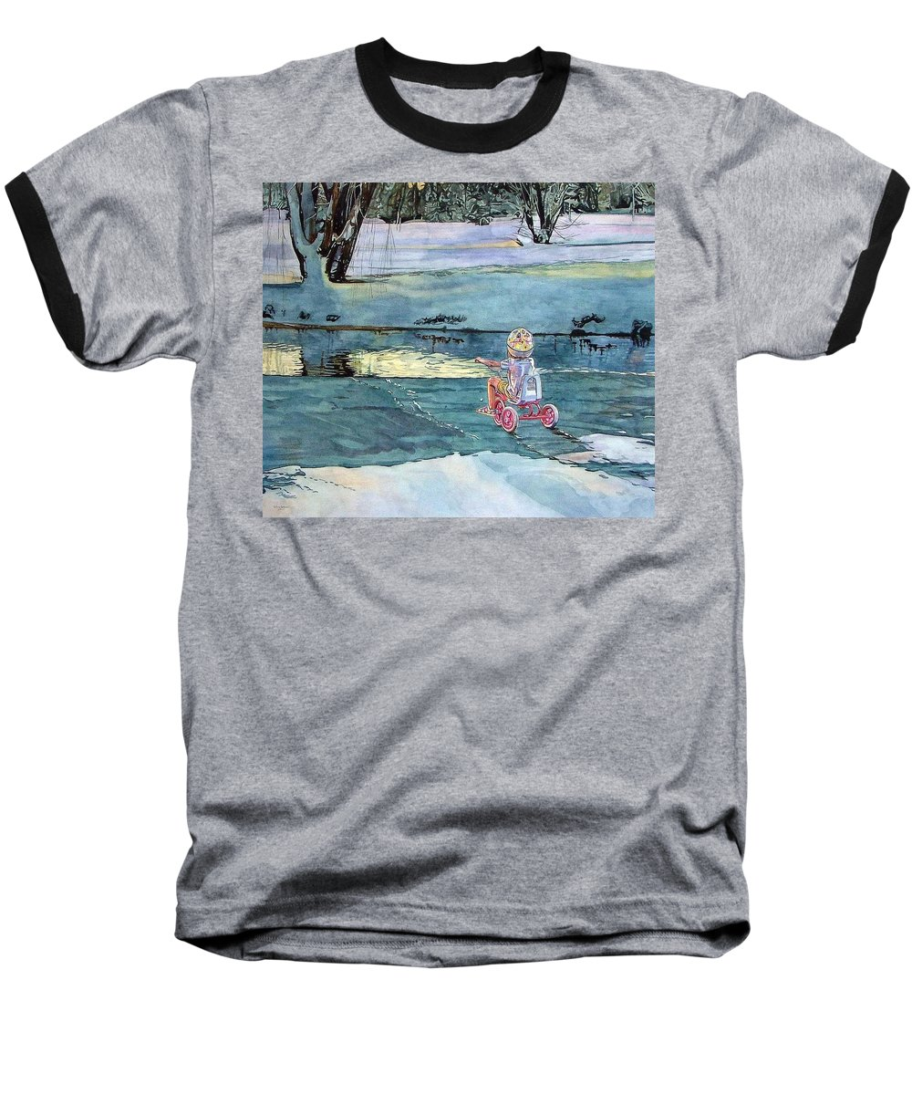 Children Baseball T-Shirt featuring the painting Twilight by Valerie Patterson