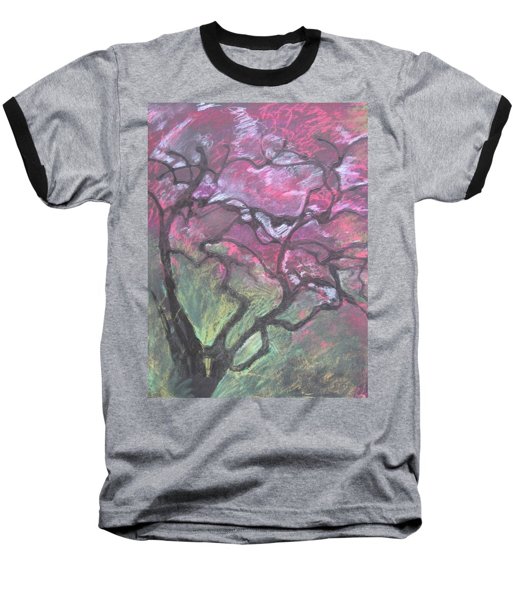 Pastel Baseball T-Shirt featuring the drawing Twisted Cherry by Leah Tomaino