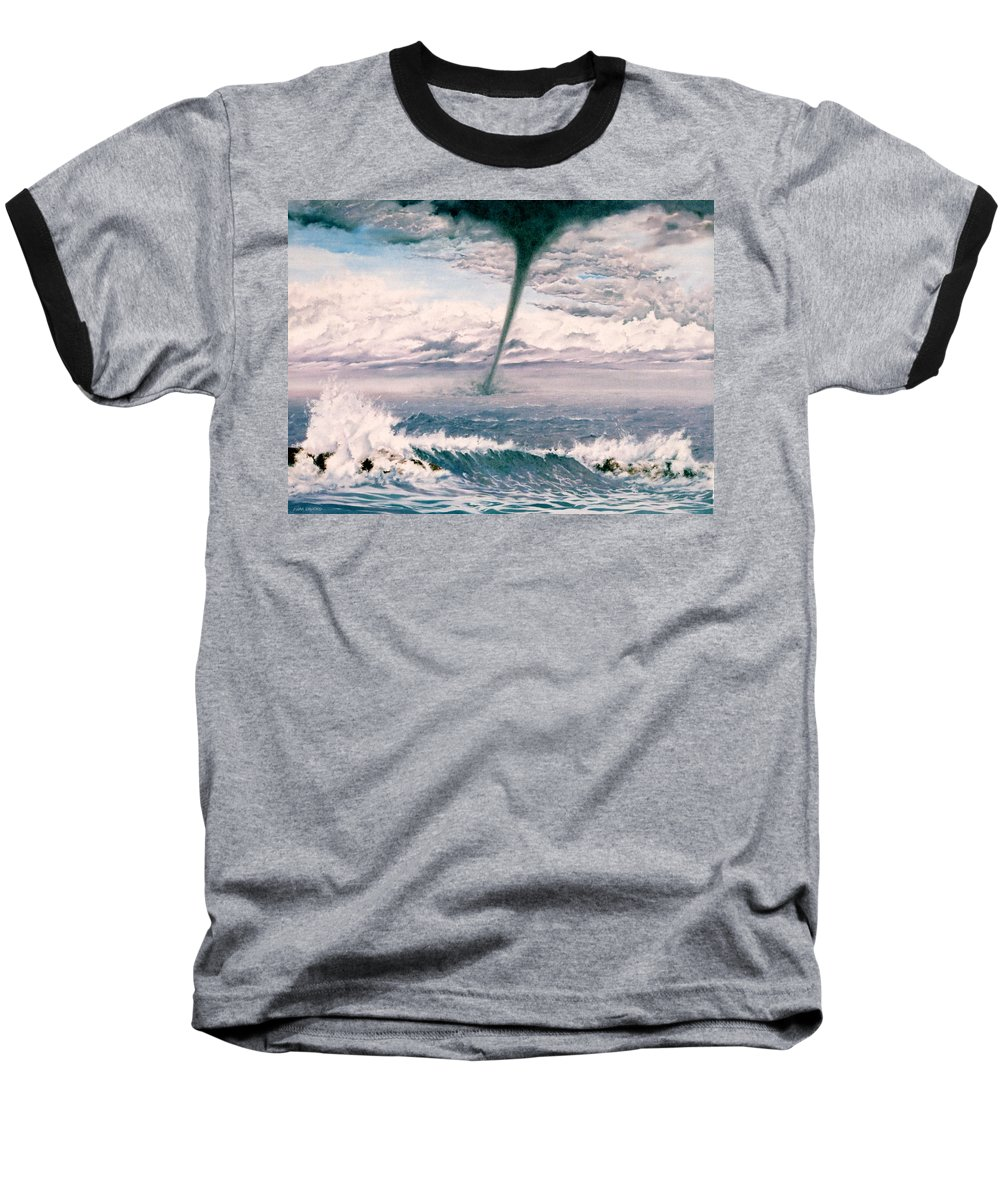 Seascape Baseball T-Shirt featuring the painting Twisted Nature by Mark Cawood