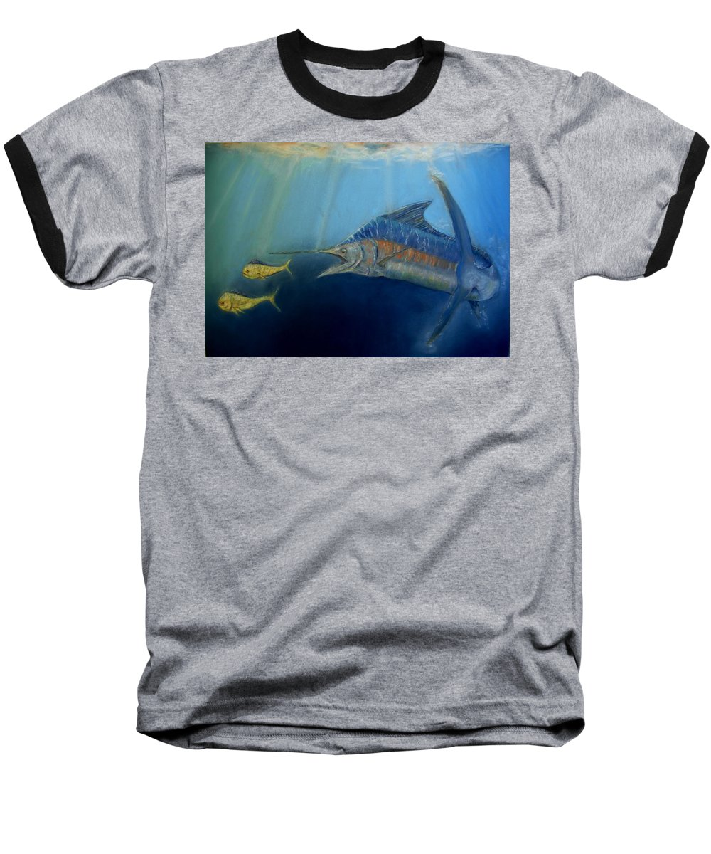 Marine Wildlife Baseball T-Shirt featuring the pastel Two For Lunch by Ceci Watson