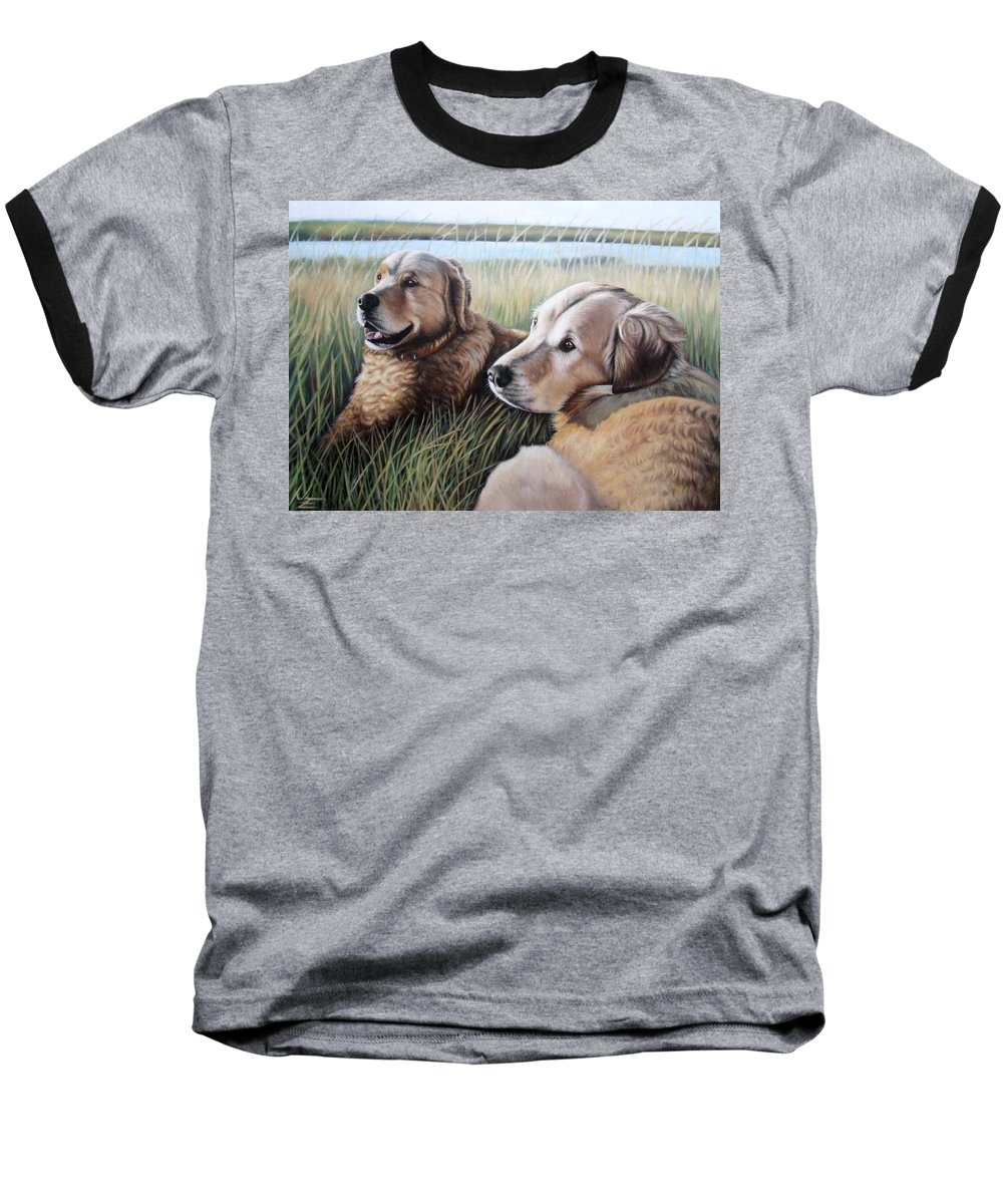 Dogs Baseball T-Shirt featuring the painting Two Golden Retriever by Nicole Zeug