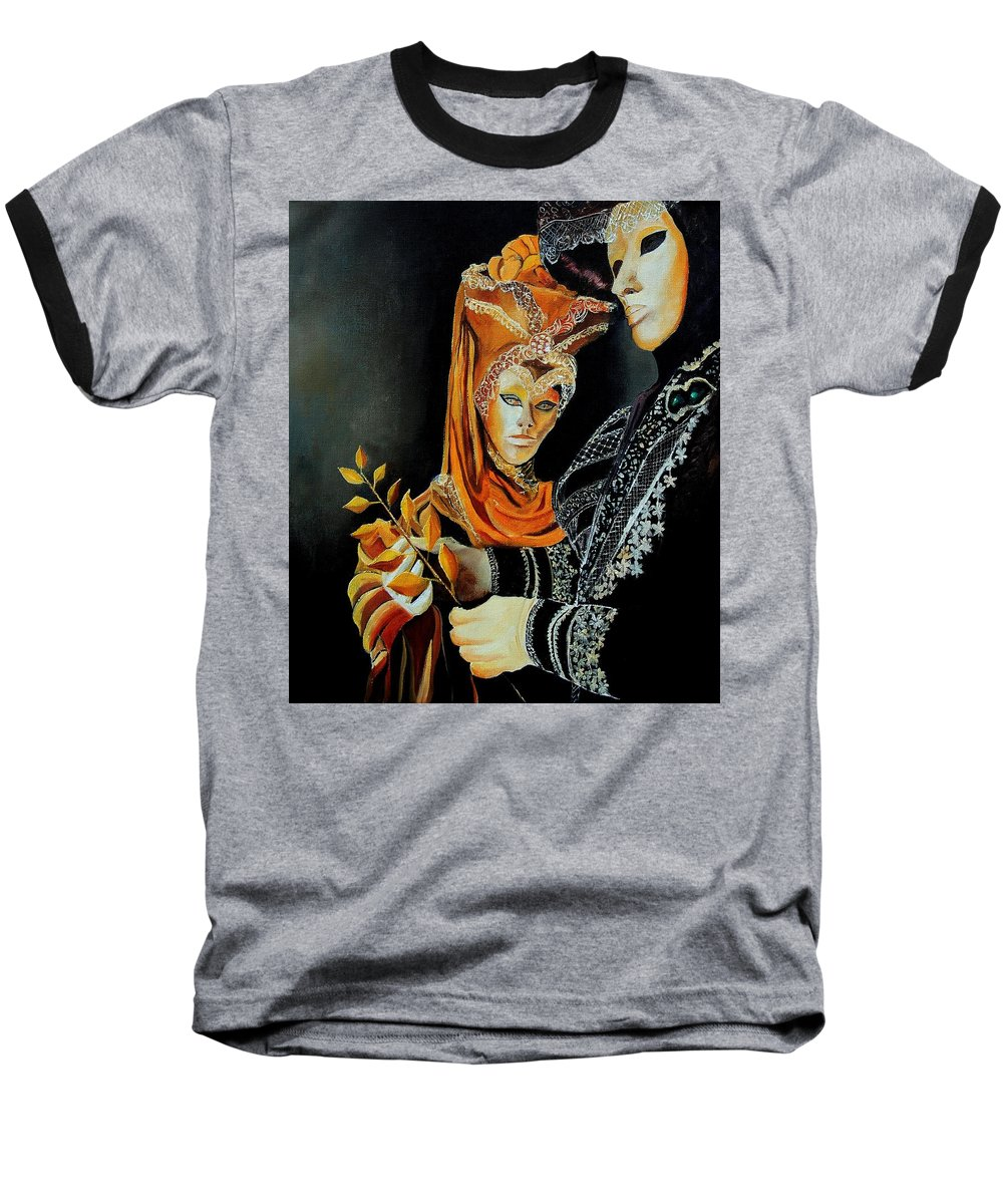 Mask Venice Carnavail Italy Baseball T-Shirt featuring the painting Two Masks In Venice by Pol Ledent