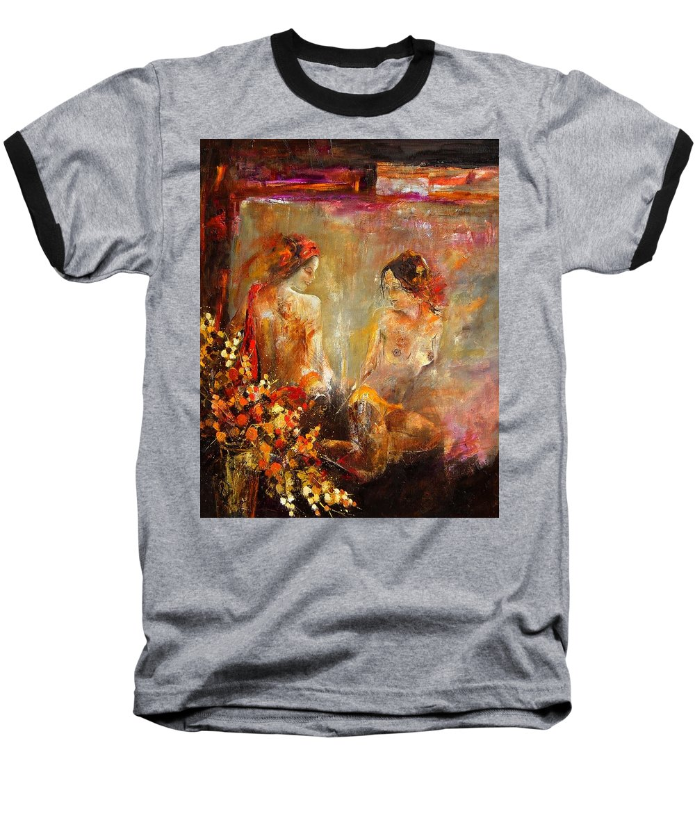 Girl Nude Baseball T-Shirt featuring the painting Two Nudes by Pol Ledent