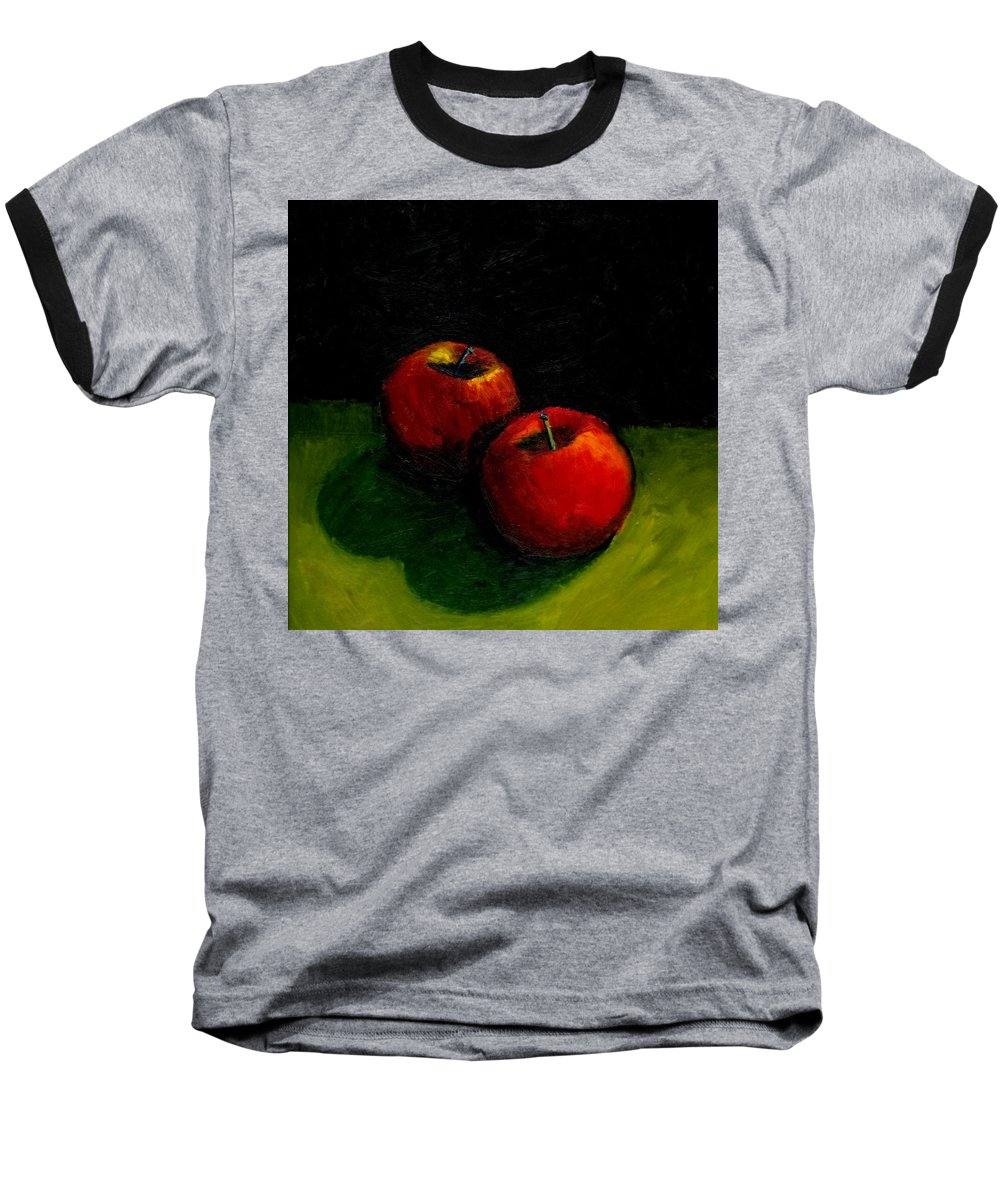 Red Baseball T-Shirt featuring the painting Two Red Apples Still Life by Michelle Calkins