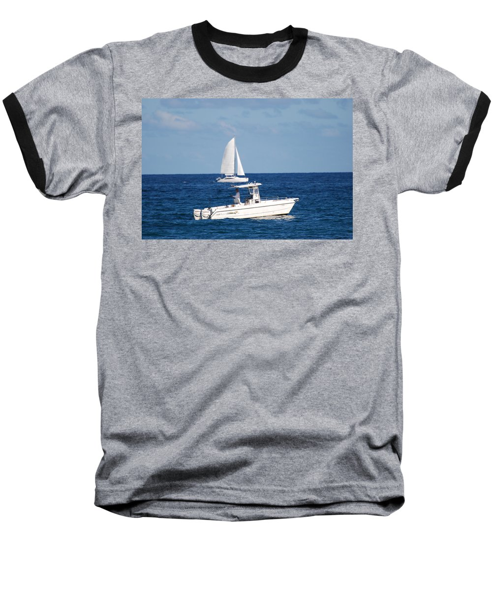 Sea Scape Baseball T-Shirt featuring the photograph Two Ships That Pass Thru The Day by Rob Hans