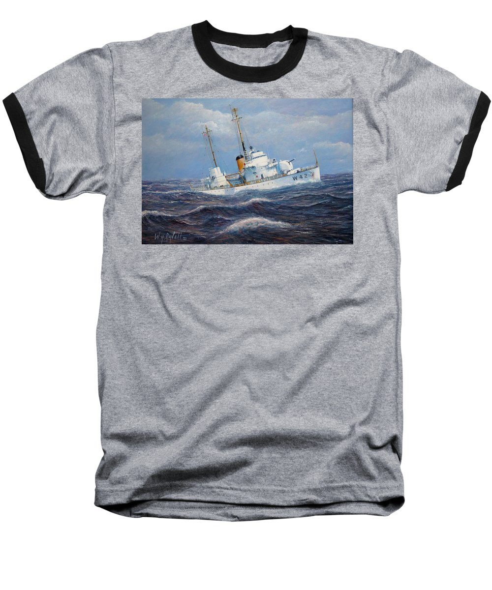 Marine Art Baseball T-Shirt featuring the painting U. S. Coast Guard Cutter Sebago Takes A Roll by William H RaVell III