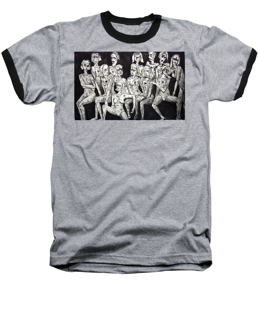 Etching Baseball T-Shirt featuring the print Ugly Girls by Thomas Valentine