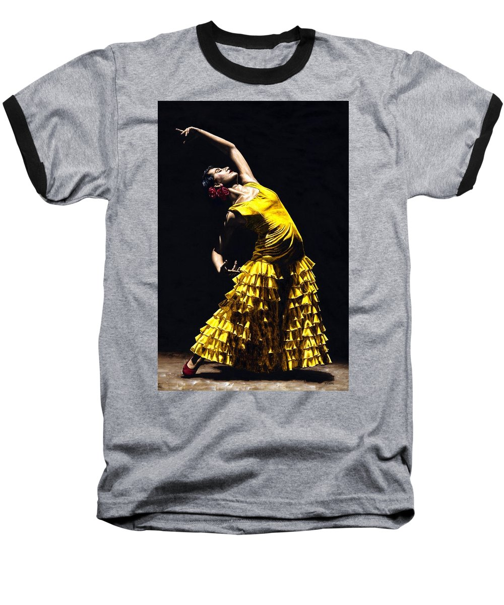 Flamenco Baseball T-Shirt featuring the painting Un Momento Intenso Del Flamenco by Richard Young
