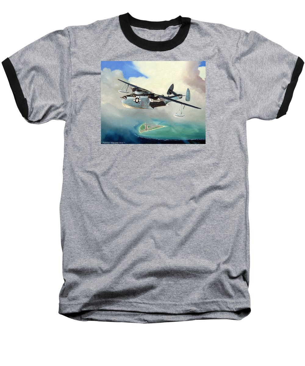 Military Baseball T-Shirt featuring the painting Uncle Bubba's Flying Boat by Marc Stewart