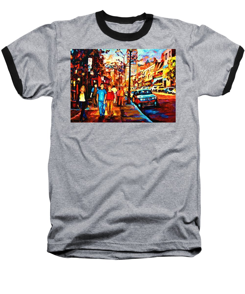 Montrealstreetscene Baseball T-Shirt featuring the painting Under A Crescent Moon by Carole Spandau