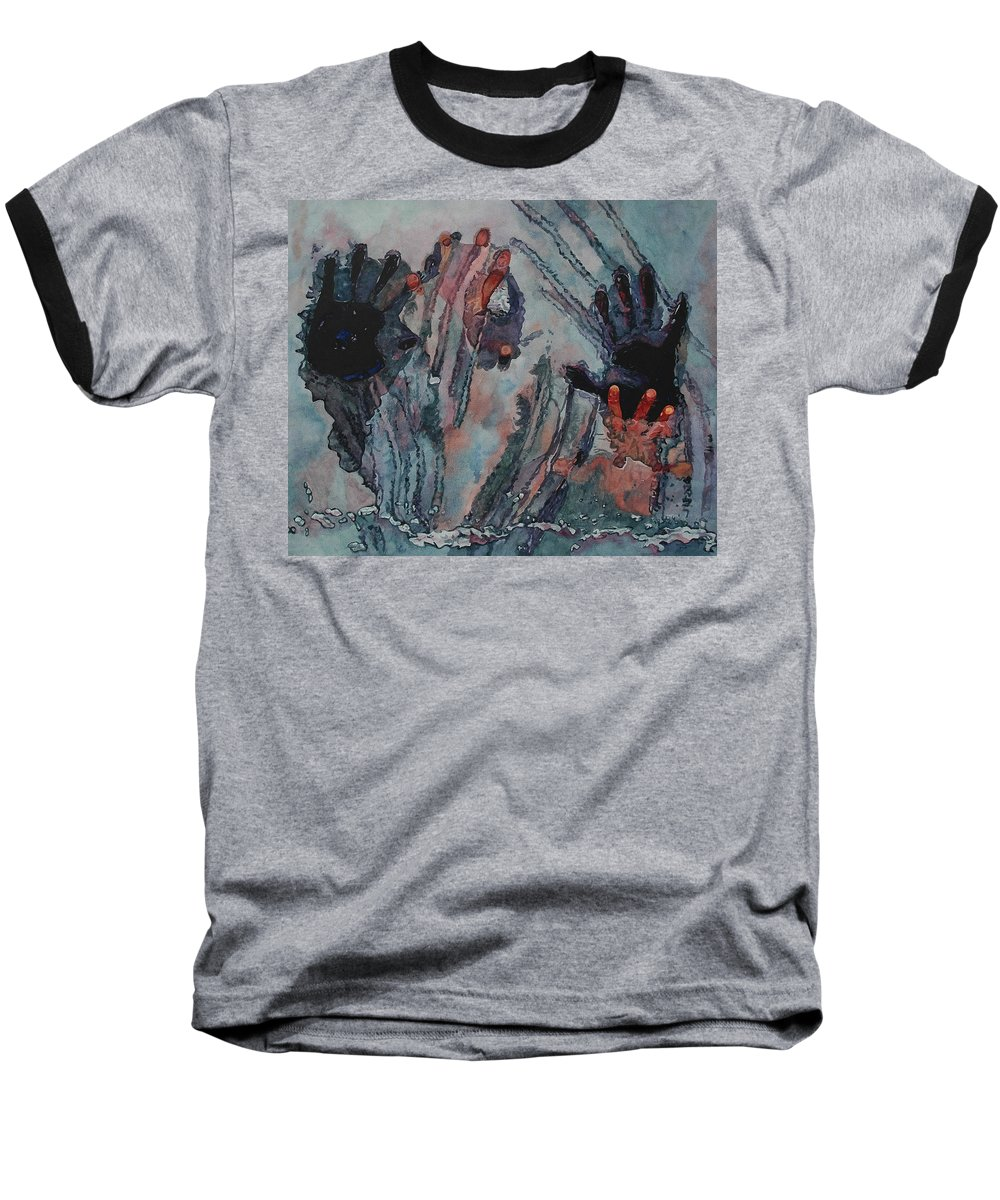 Underneath Baseball T-Shirt featuring the painting Under Ice by Valerie Patterson