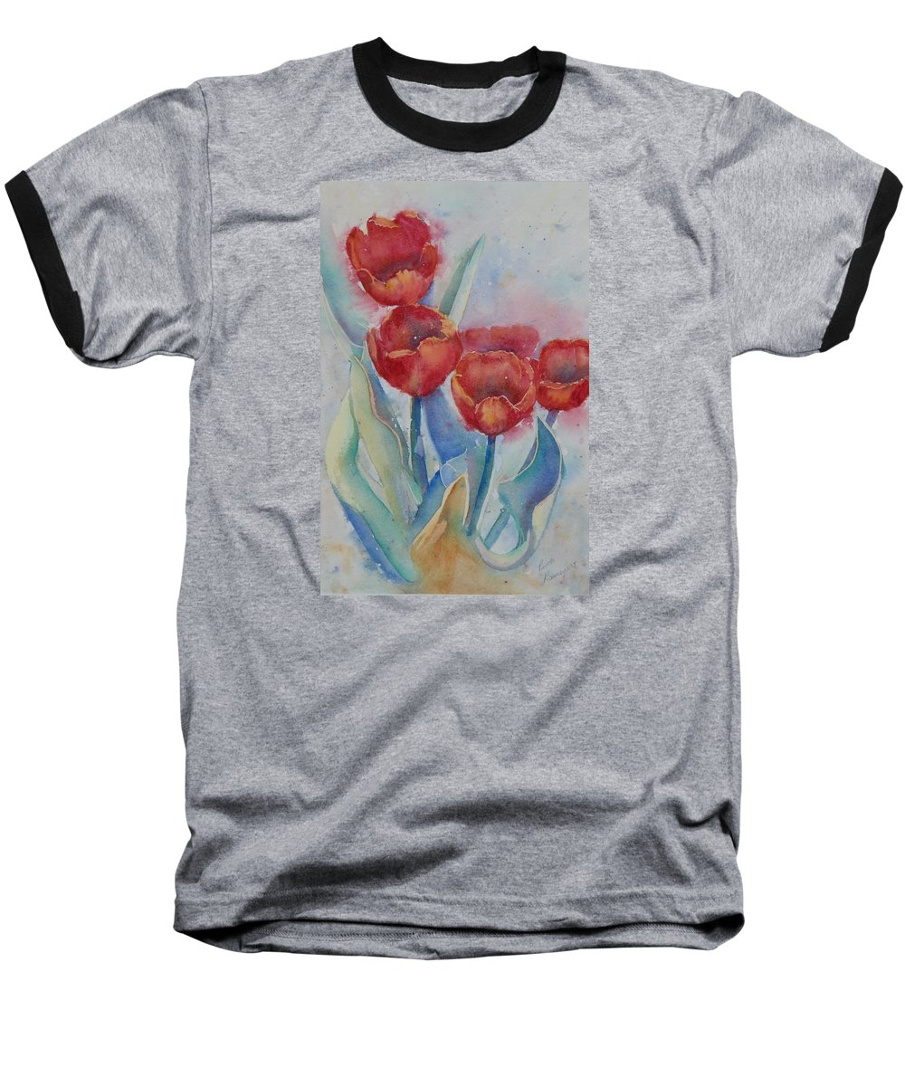 Flowers Baseball T-Shirt featuring the painting Undersea Tulips by Ruth Kamenev