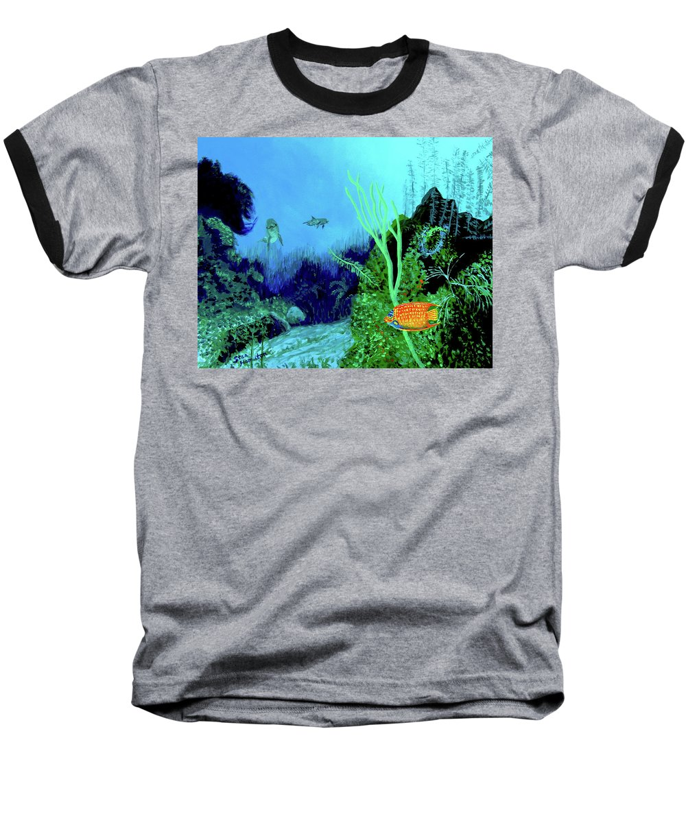 Wildlife Baseball T-Shirt featuring the painting Underwater by Stan Hamilton