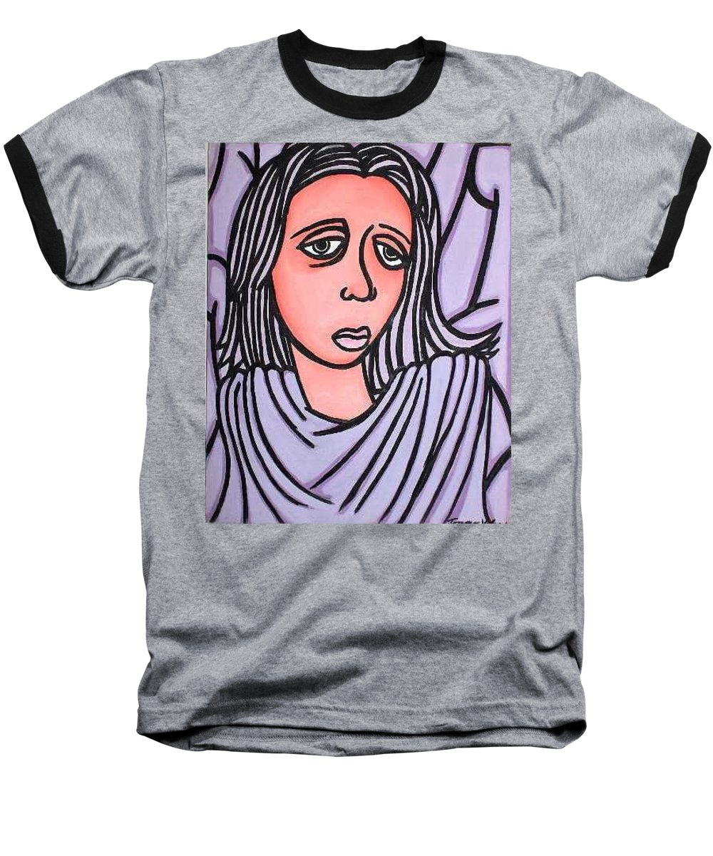 Portrait Baseball T-Shirt featuring the painting Unknown by Thomas Valentine