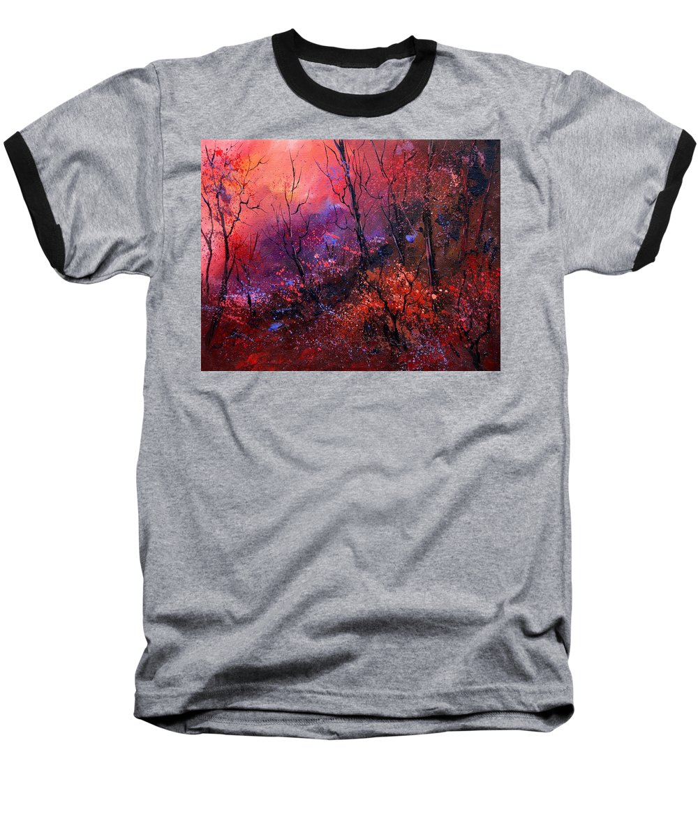Wood Sunset Tree Baseball T-Shirt featuring the painting Unset In The Wood by Pol Ledent