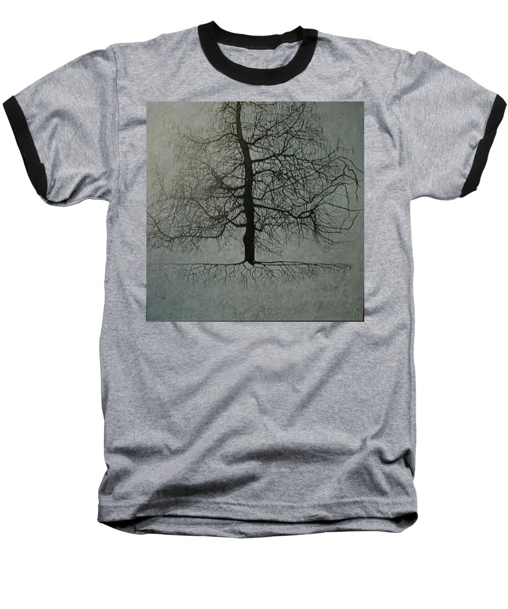 Silhouette Baseball T-Shirt featuring the painting Untitled Blue by Leah Tomaino