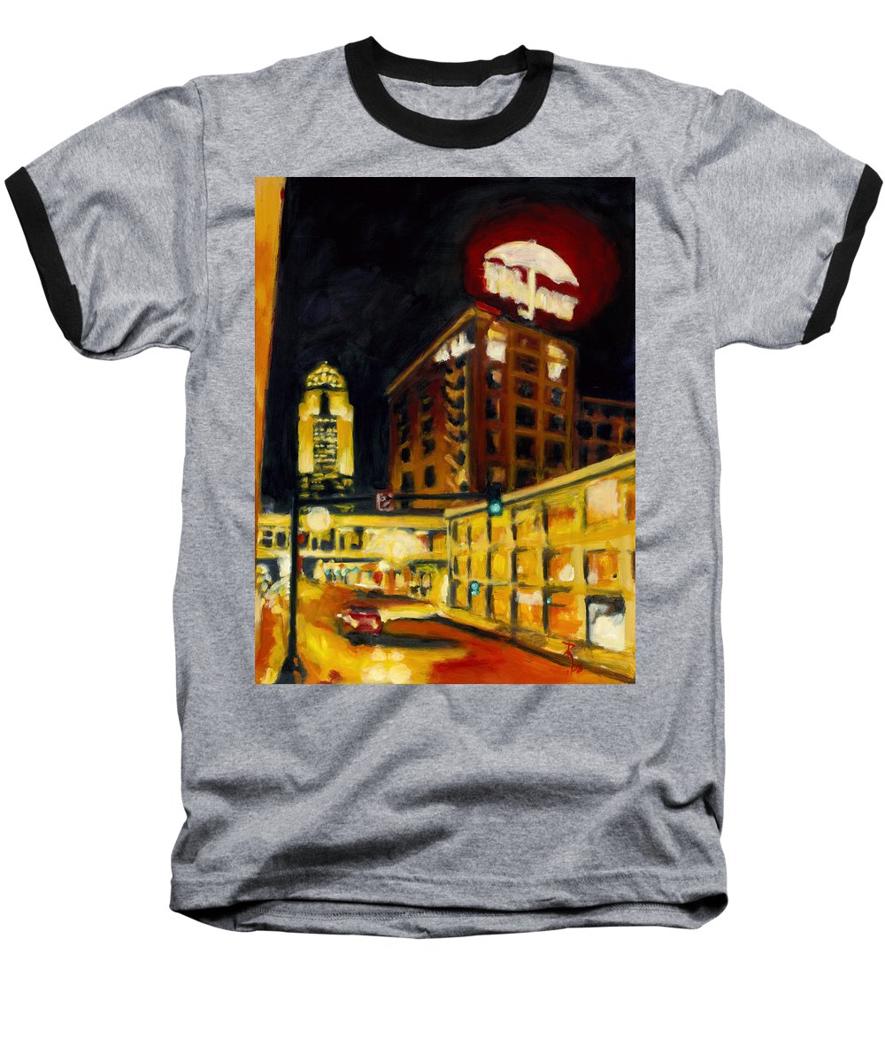 Rob Reeves Baseball T-Shirt featuring the painting Untitled In Red And Gold by Robert Reeves