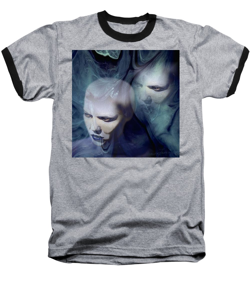 Dream Afterlife Experience Blue Smoke Baseball T-Shirt featuring the digital art Untitled by Veronica Jackson