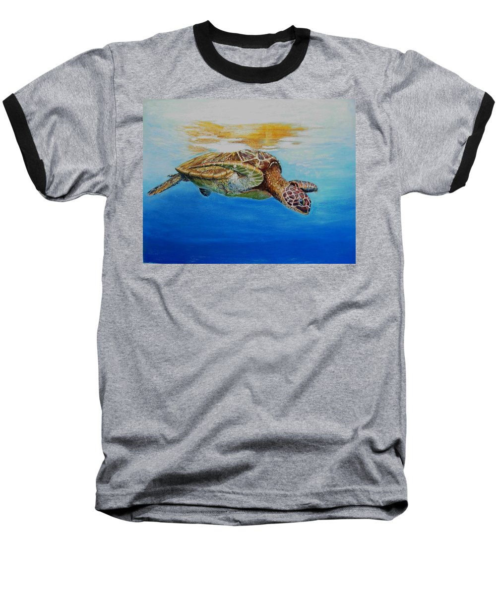 Wildlife Baseball T-Shirt featuring the painting Up For Some Rays by Ceci Watson