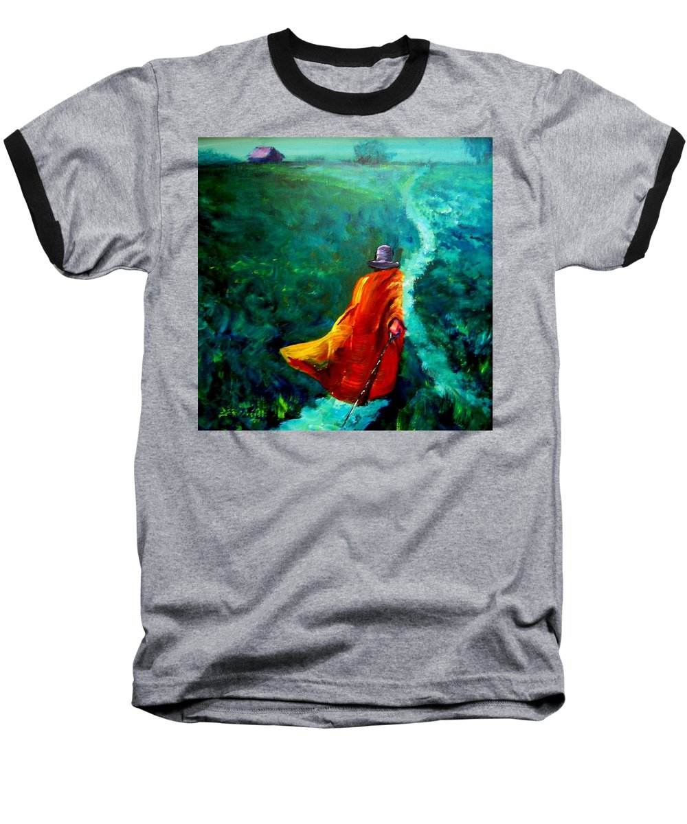 Expressionist Baseball T-Shirt featuring the painting Up That Hill by Jason Reinhardt