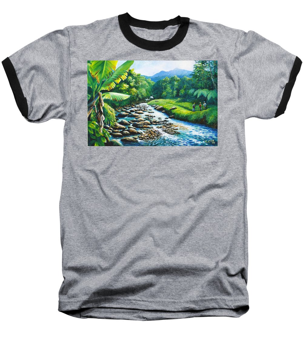 Chris Cox Baseball T-Shirt featuring the painting Upriver by Christopher Cox