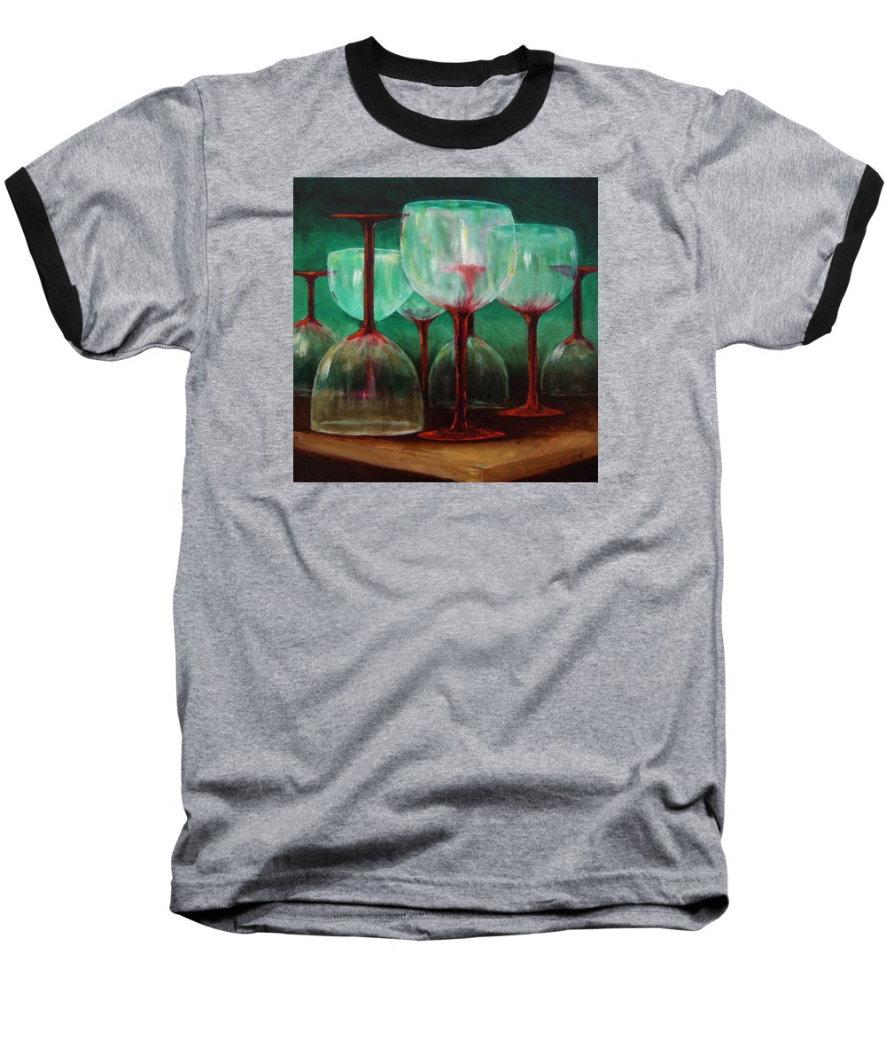 Oil Baseball T-Shirt featuring the painting Upsidedown by Linda Hiller