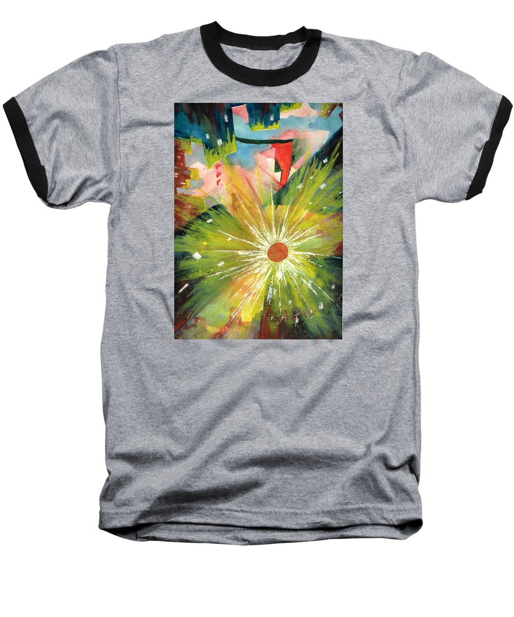 Downtown Baseball T-Shirt featuring the painting Urban Sunburst by Andrew Gillette