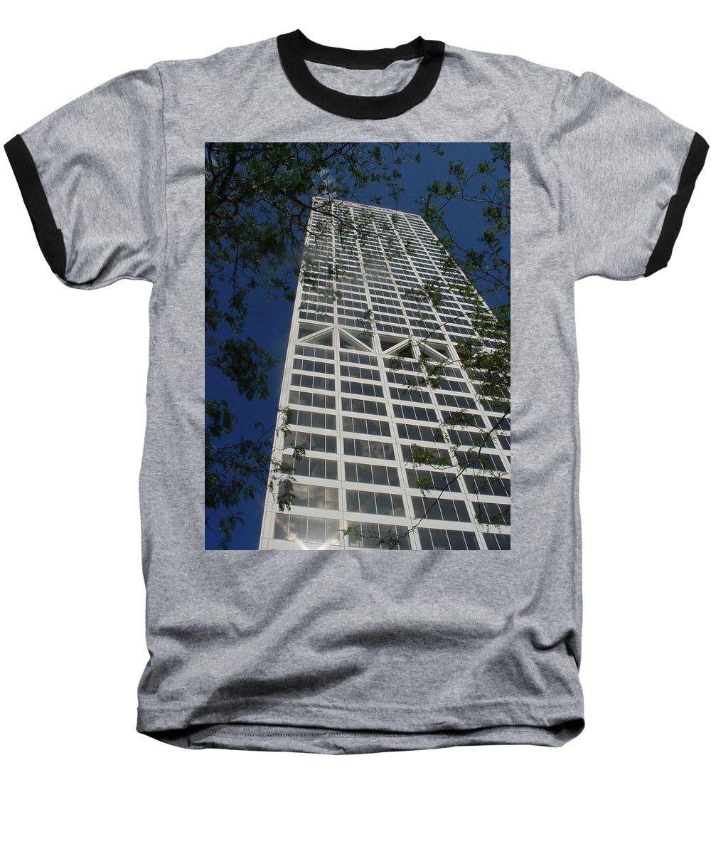Us Bank Baseball T-Shirt featuring the photograph Us Bank With Trees by Anita Burgermeister
