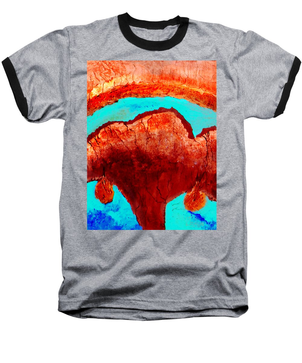 Color Baseball T-Shirt featuring the painting Uterus by Veronica Jackson