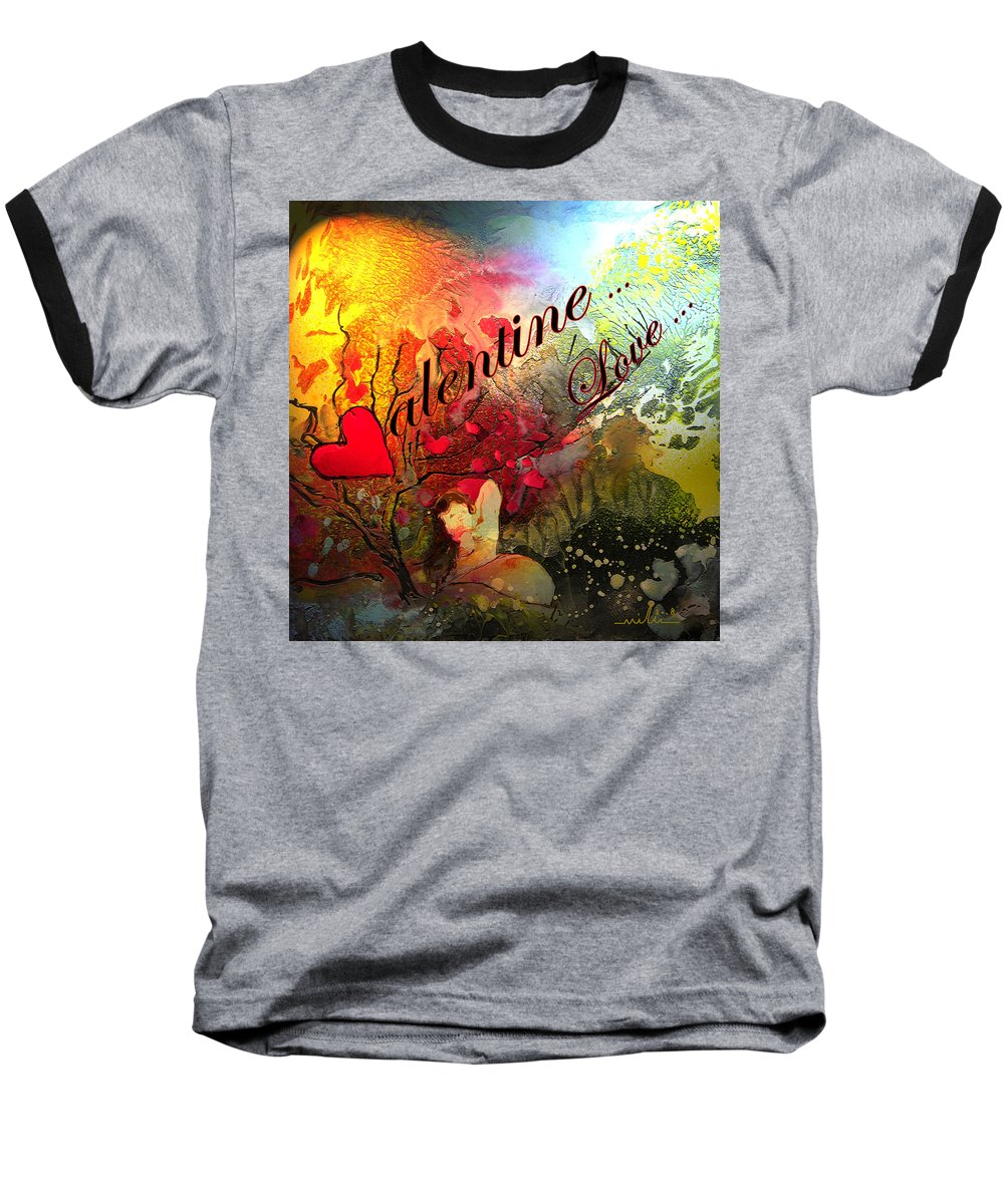 Valentine Baseball T-Shirt featuring the painting Valentine by Miki De Goodaboom